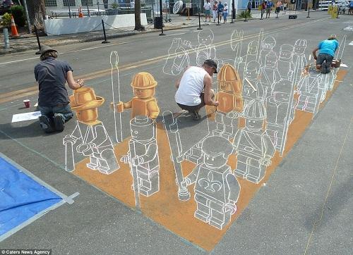 Artist Draws China's Terracotta Army Chalk Street Art Lego ...